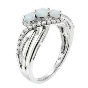 Sterling Silver 3-Stone Lab-created Opal Ring